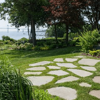 New Lawn, bluestone steppers and trees